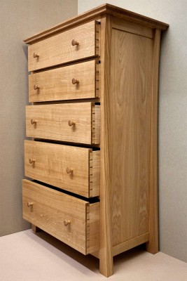 Oak chest of drawers showing handcut dovetail joints